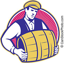 flytande, bartender, kagge, öl, retro, trumma