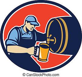 flytande, bartender, kastare, öl, retro, trumma