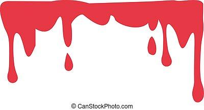 flytande, blod, droppande