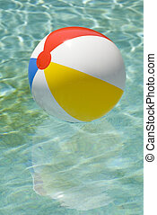 flytande, boll, strand, slå samman