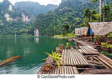 flytande, by, på, insjö, cheo, lan, in, thailand
