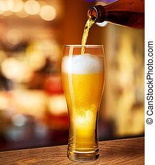 flytande, hinder, pub, glas, öl, skrivbord, eller