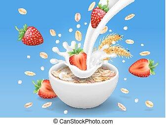 flytande, kopp, havremjöl, jordgubbe, flakes., illustration, realistisk, 3, mjölk, bär