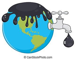 flytande, mull, över, olja