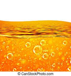 flytande, rinner, apelsin, våg, hav, närbild, luft, bubblar