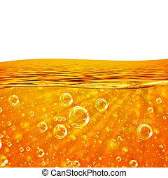flytande, rinner, apelsin, våg, hav, närbild, luft, bubblar, vevstake