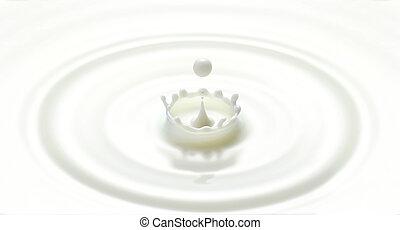 flytande, skapat, droppe, mjölk, våg, plaska, krusning, vit,...