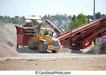 flyttande, quarried, grävare, material