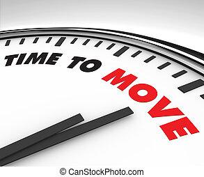 flyttning, -, tid klocka