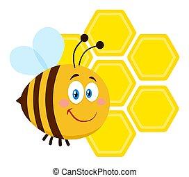 flyve, karakter, bi, forside, smil, honeycombs, cartoon