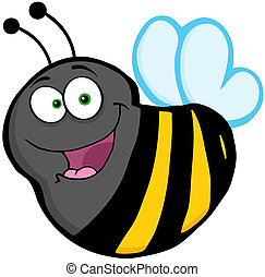 flyve, karakter, cartoon, bi, mascot