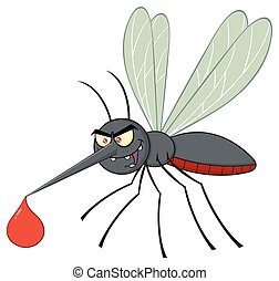 flyve, karakter, myg, cartoon