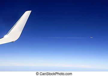 flyve, oppe, detalje, høj, flyvemaskine, vinge