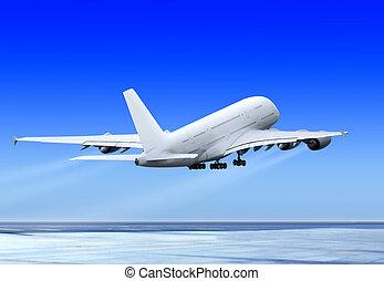 flyve, oppe, flyvemaskine