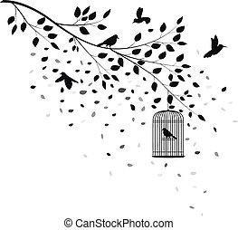 flyve, silhuet, træ, fugle