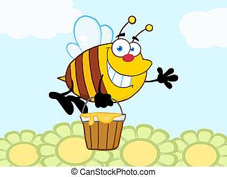 flyve, smil, blomster, hen, bi