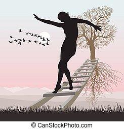 flyve, stige, kvinde, træ