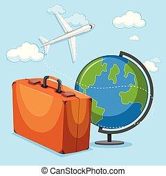 flyvemaskine, begreb, klode, bagage