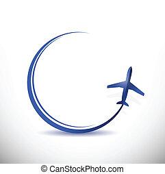 flyvemaskine, færdes destination, begreb, illustration
