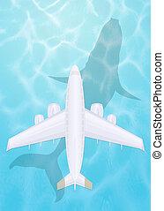 flyvemaskine, flyve hen, den, hav