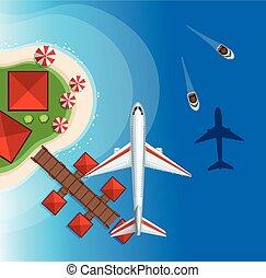 flyvemaskine, flyve hen, den, havet