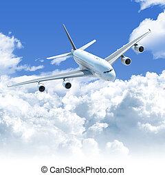 flyvemaskine, flyve hen, den, skyer, forside, top udsigt
