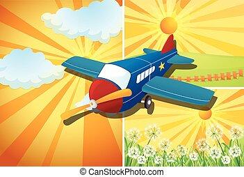 flyvemaskine, flyve, og, tre, forskellige, scener