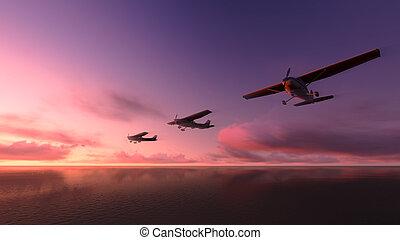 flyvemaskine, hen, den, ocean.