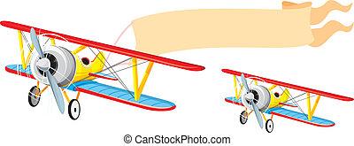 flyvemaskine, hos, banner