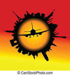 flyvemaskine, ind, den, centrum