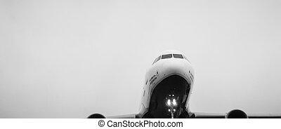 flyvemaskine, ind, den, himmel