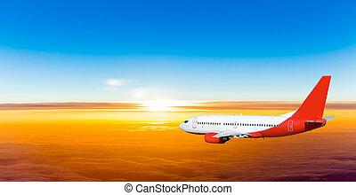flyvemaskine, ind, den, himmel, hos, sunset., en, passager...