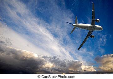 flyvemaskine, og, ond. vejr