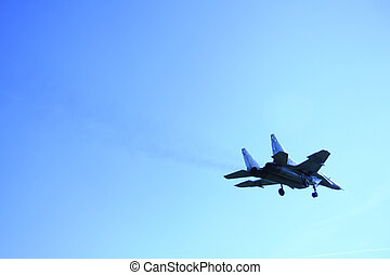 flyvemaskine, på, den, blå himmel
