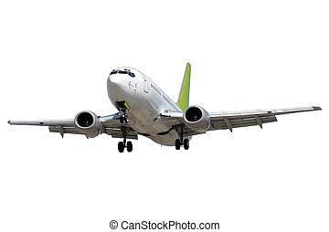 flyvemaskine, på hvide, baggrund
