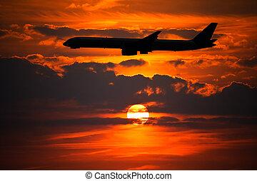 flyvemaskine, silhuet, imod, sætte sol
