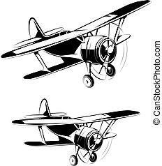 flyvemaskine, silhuetter, iconerne