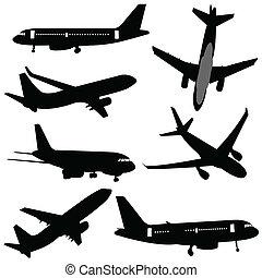 flyvemaskine, silhuetter