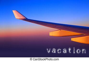 flyvemaskine, vinge, ind, solnedgang, lys