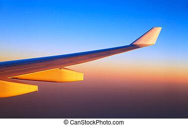 flyvemaskine, vinger, ind, solnedgang, lys