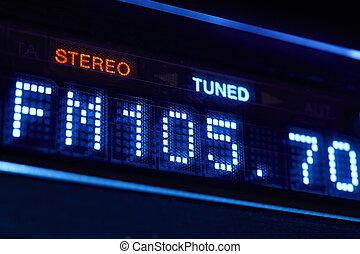 fm, afinador, rádio, display., estéreo, digital, frequência,...