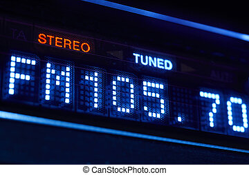 FM tuner radio display. Stereo digital frequency station ...