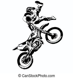 FMX FMX, trick rider, on a white background, isolated