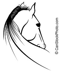 Foal - Stylized line illustration of a horse foal laying...