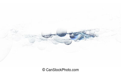 Foam And Blue Bubbles Floating,