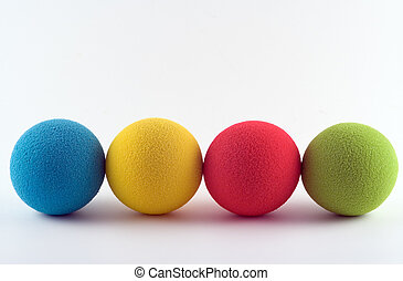 Foam balls - Foam softballs in a row