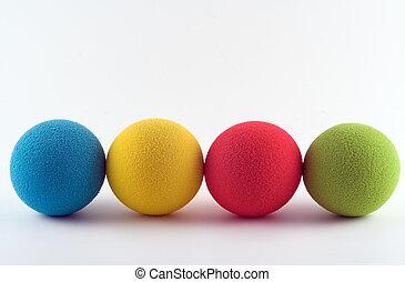 Foam balls - Foam softballs in a row