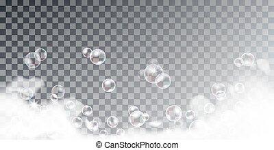 Foam bath with iridescent shampoo bubbles