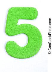 The digit five in foam material.