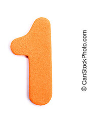 The digit one in foam.